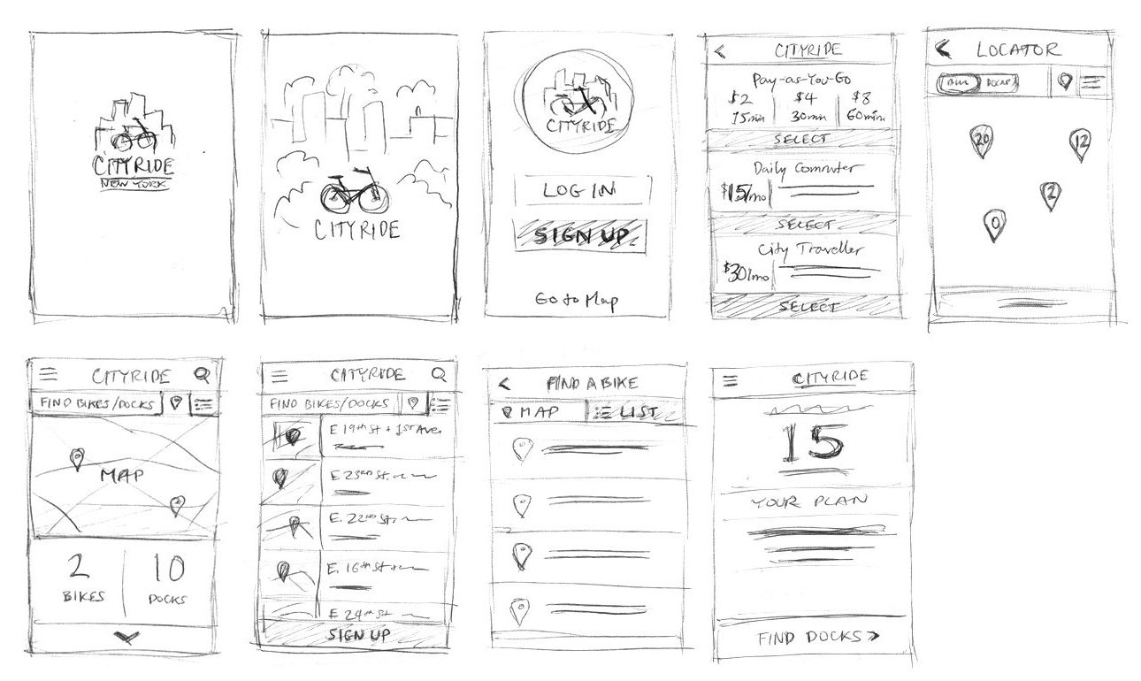 BikeNYC mobile app sketches
