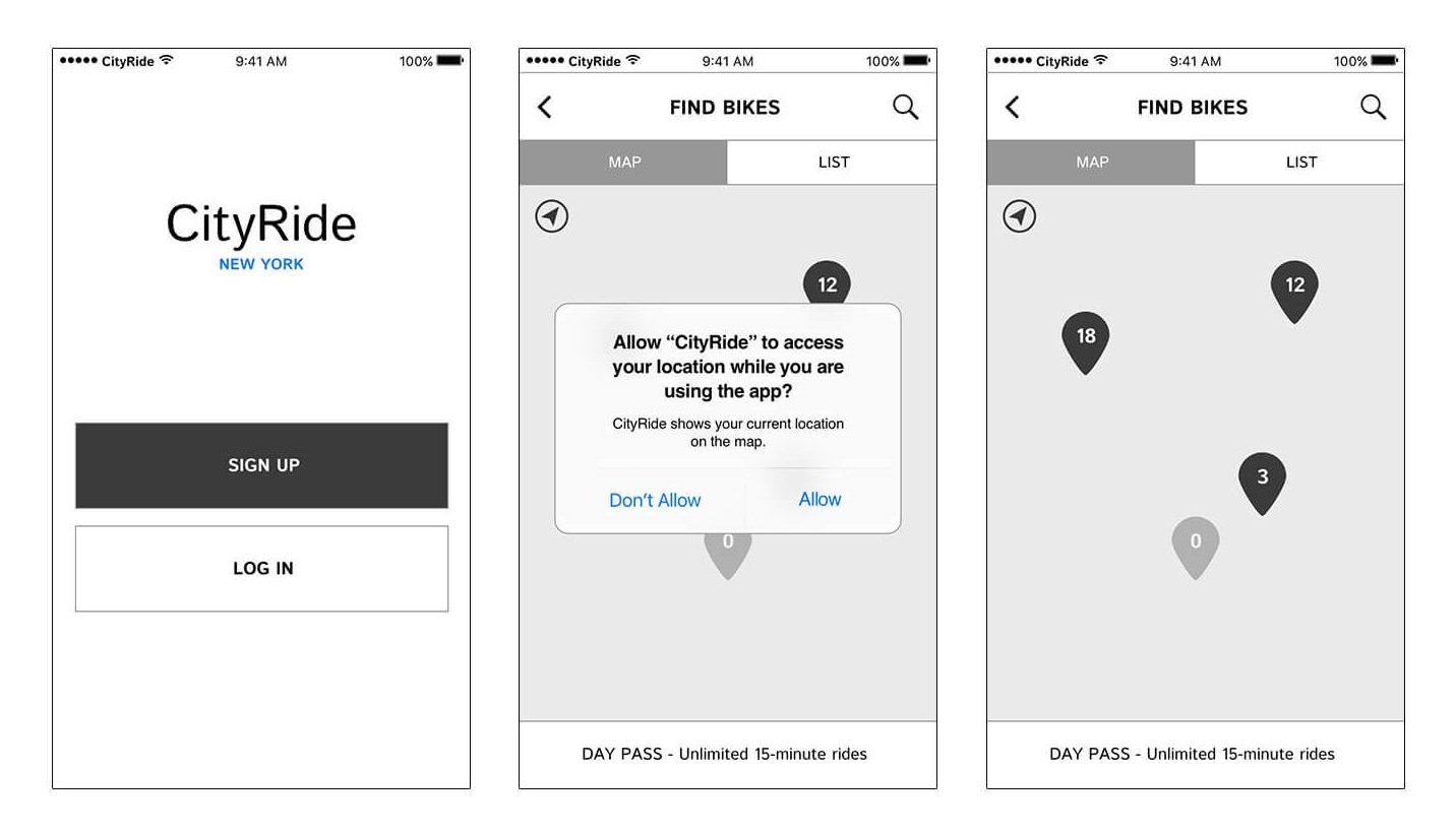 BikeNYC app wireframes 1