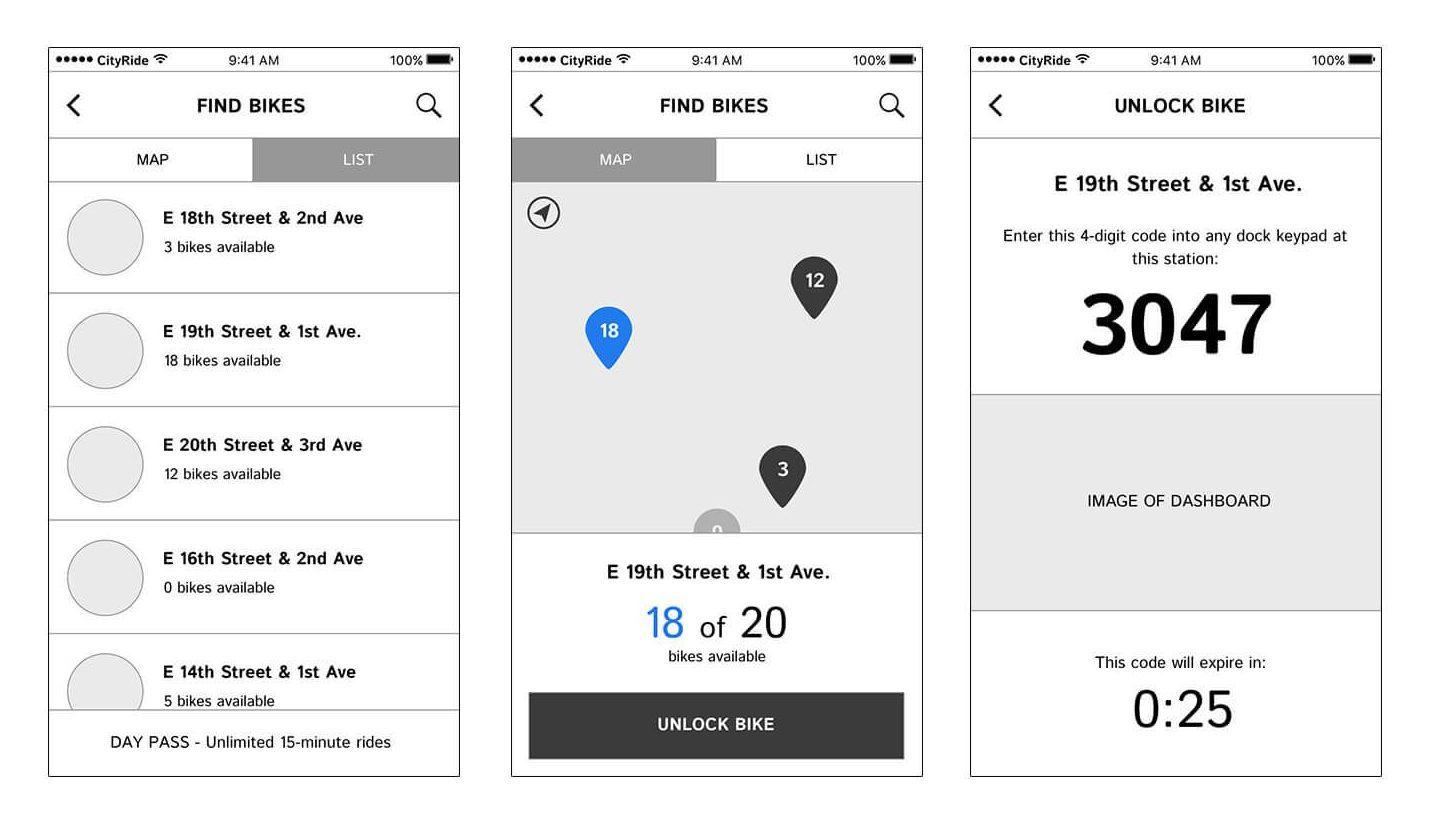 BikeNYC app wireframes 2