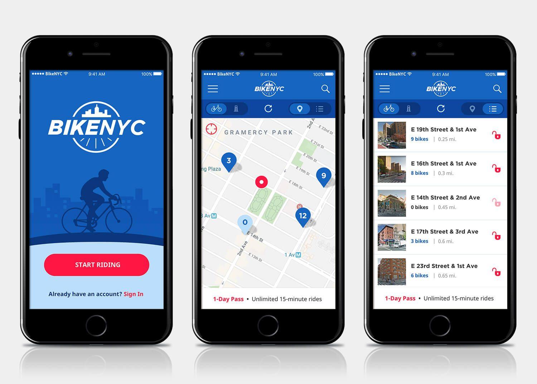 BikeNYC app mockups 1