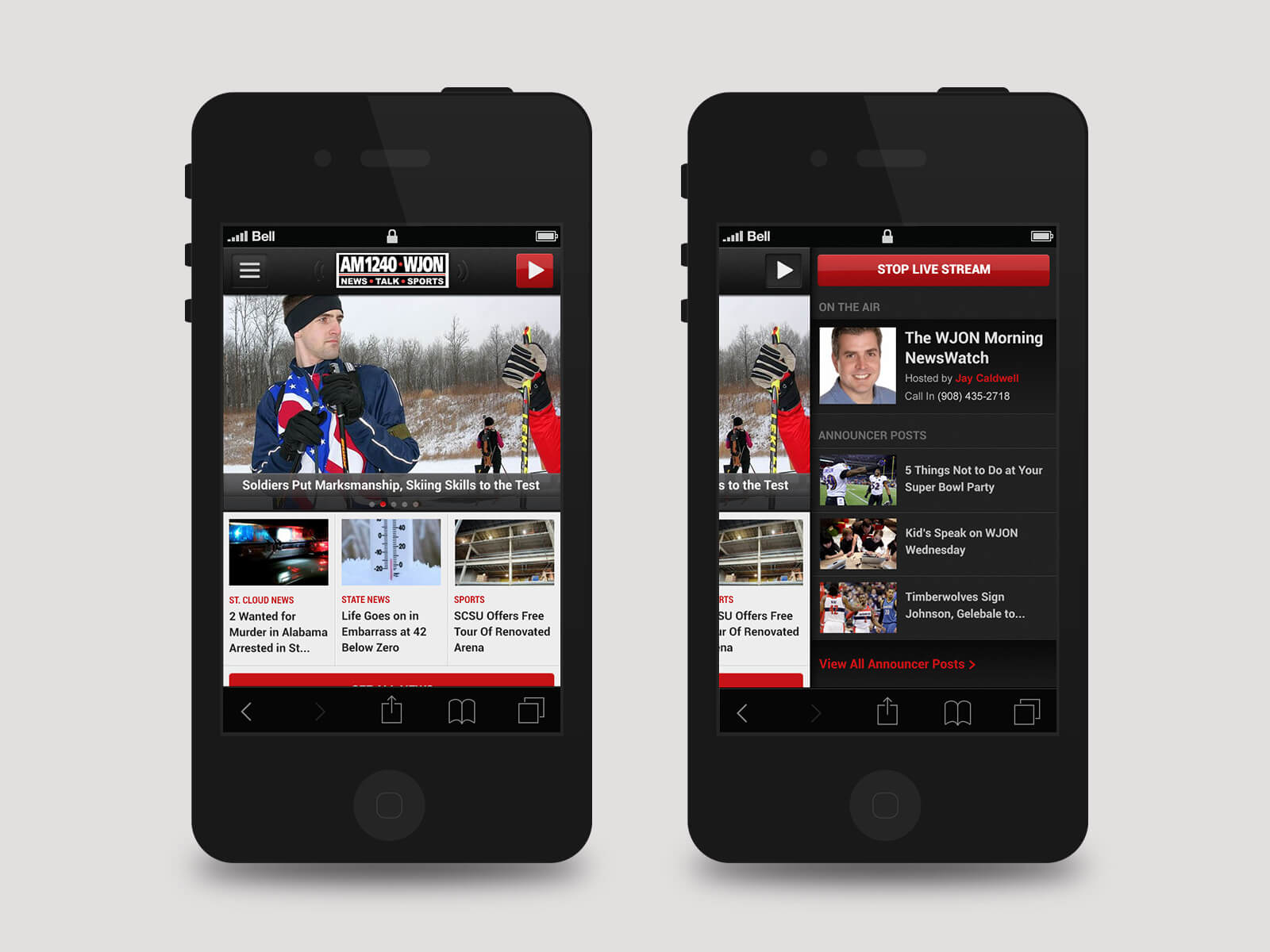 Townsquare Media - WJON mockups
