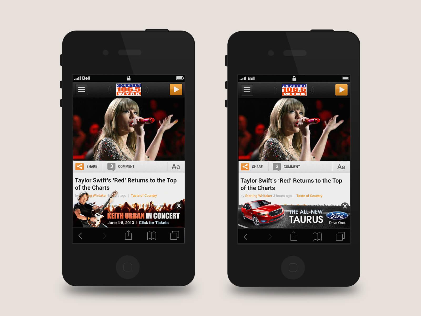 Townsquare Media - WYRK mobile native ads