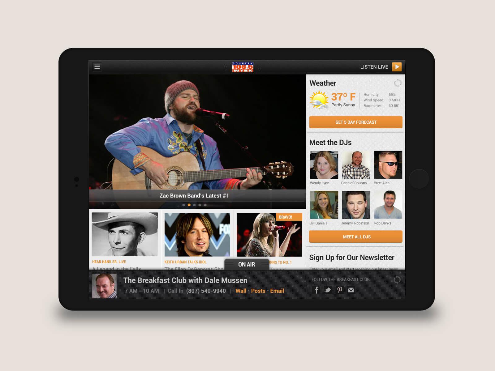 Townsquare Media - WYRK tablet ockups