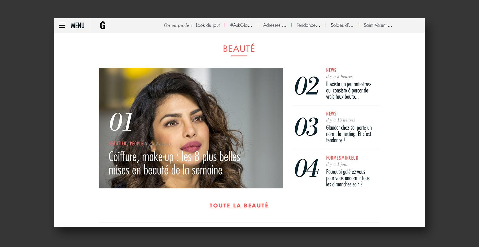 CMS new site example - Glamour Paris