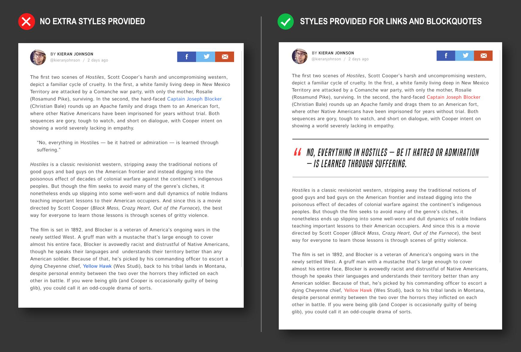 Post page comparison - providing extra styles