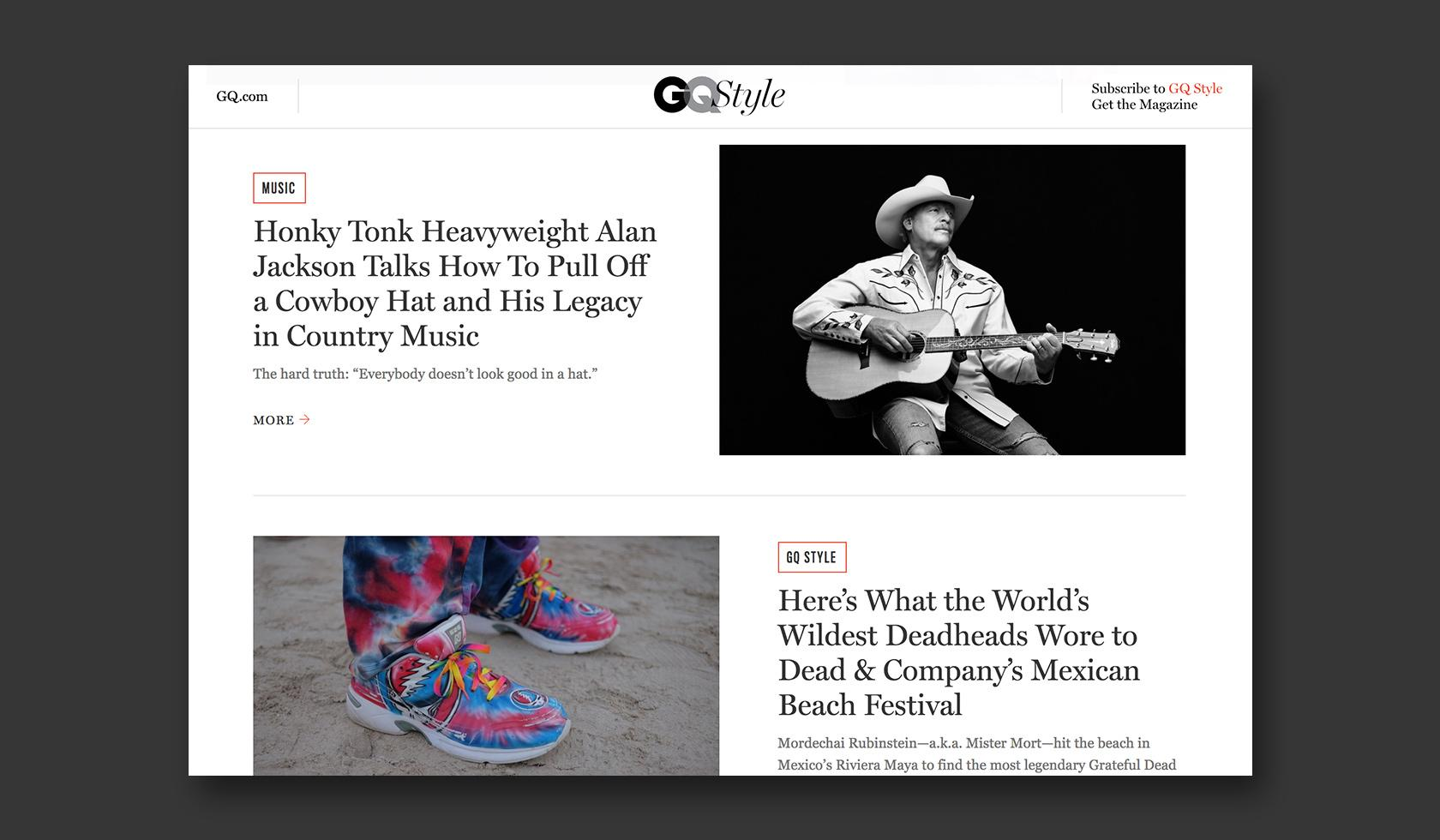 Good CMS web design example - GQ Style