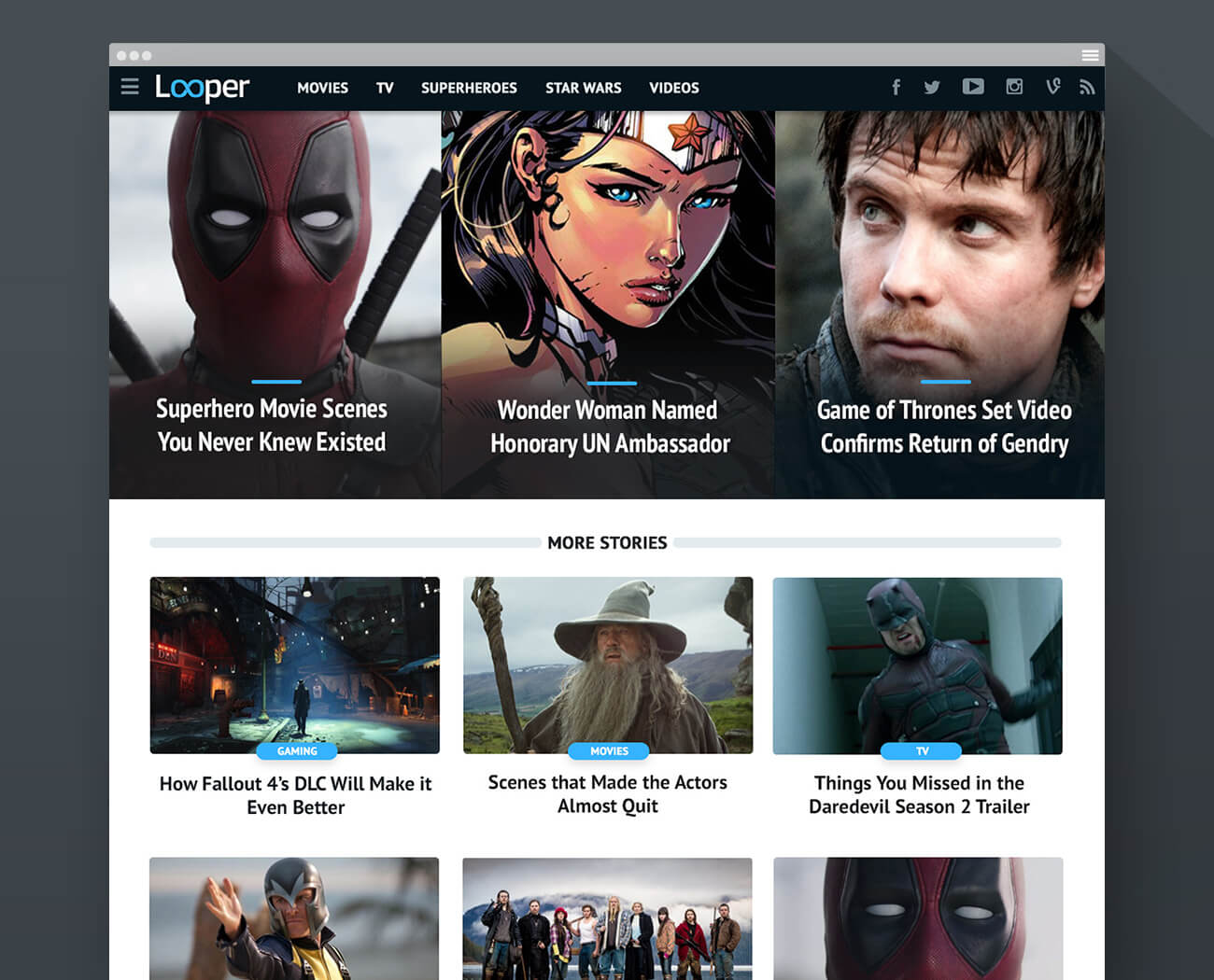 Looper homepage (desktop) - phase 1 design