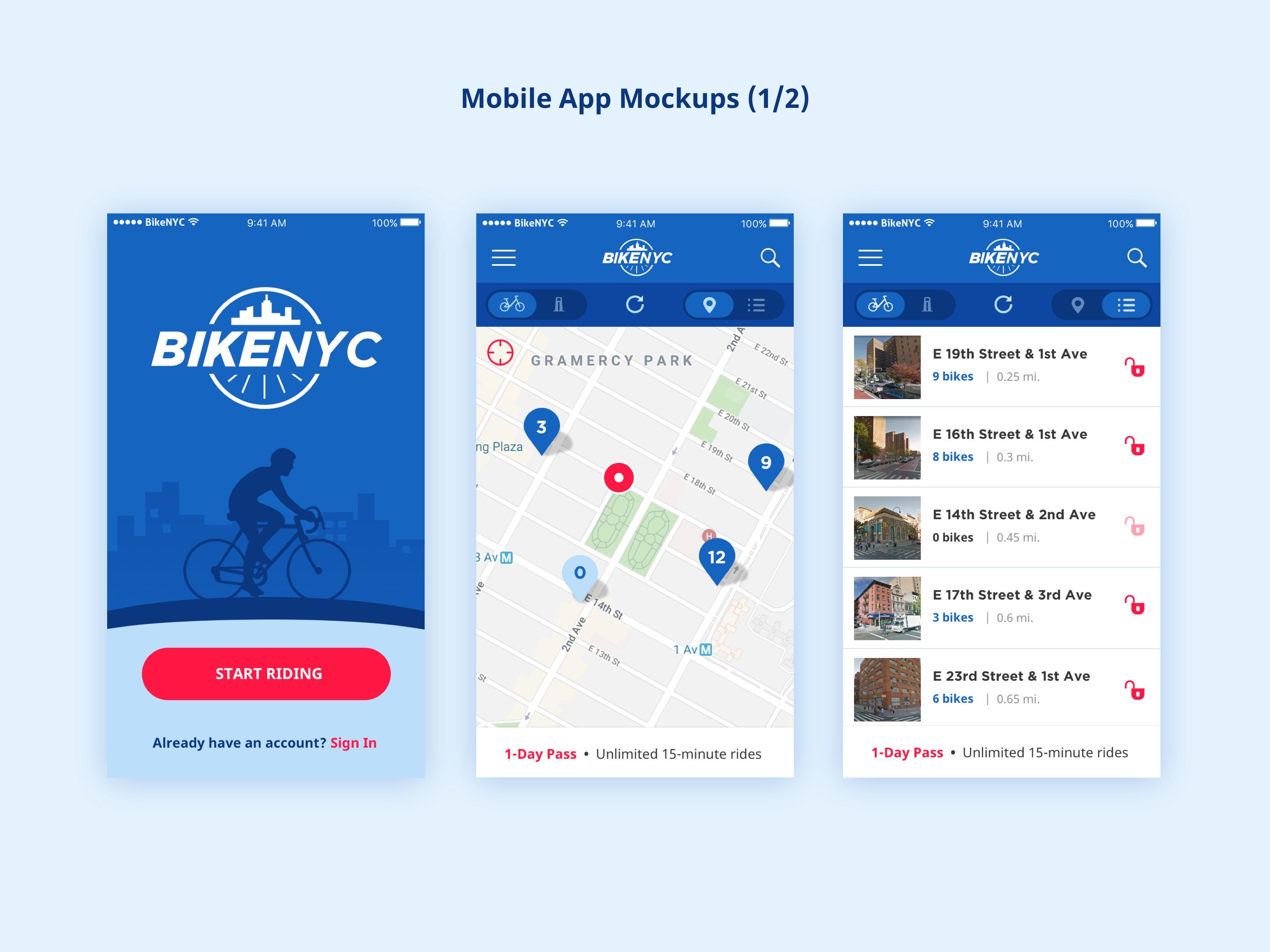 BikeNYC Mobile App - Mockups 2