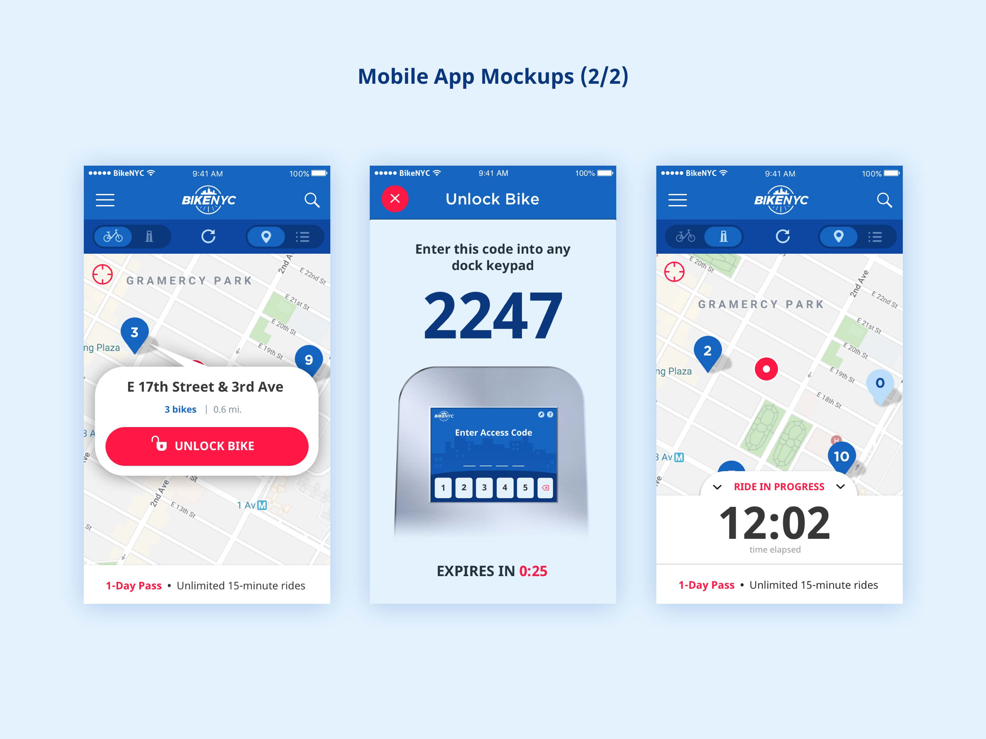 BikeNYC Mobile App - Mockups 1