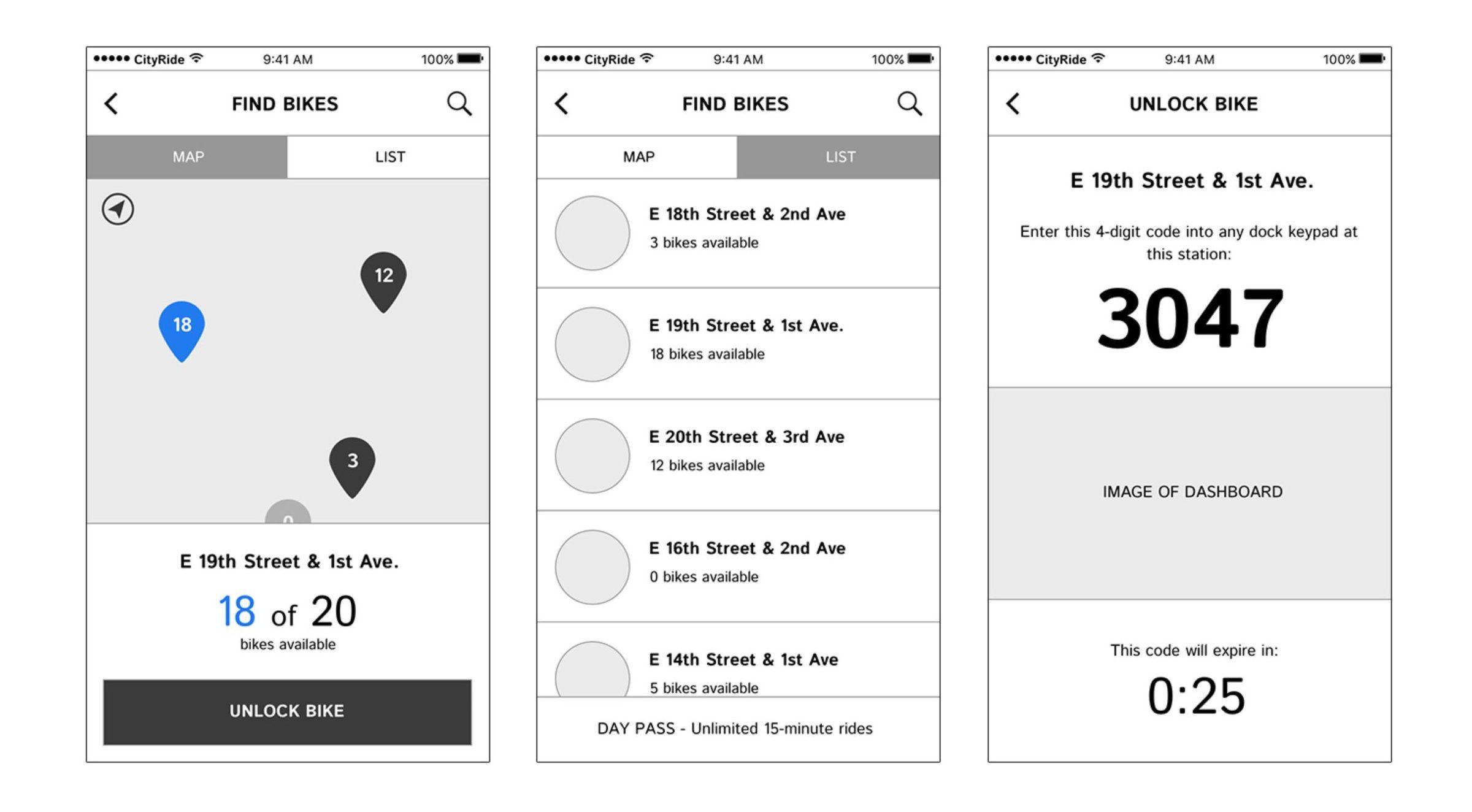 BikeNYC Mobile App wireframes