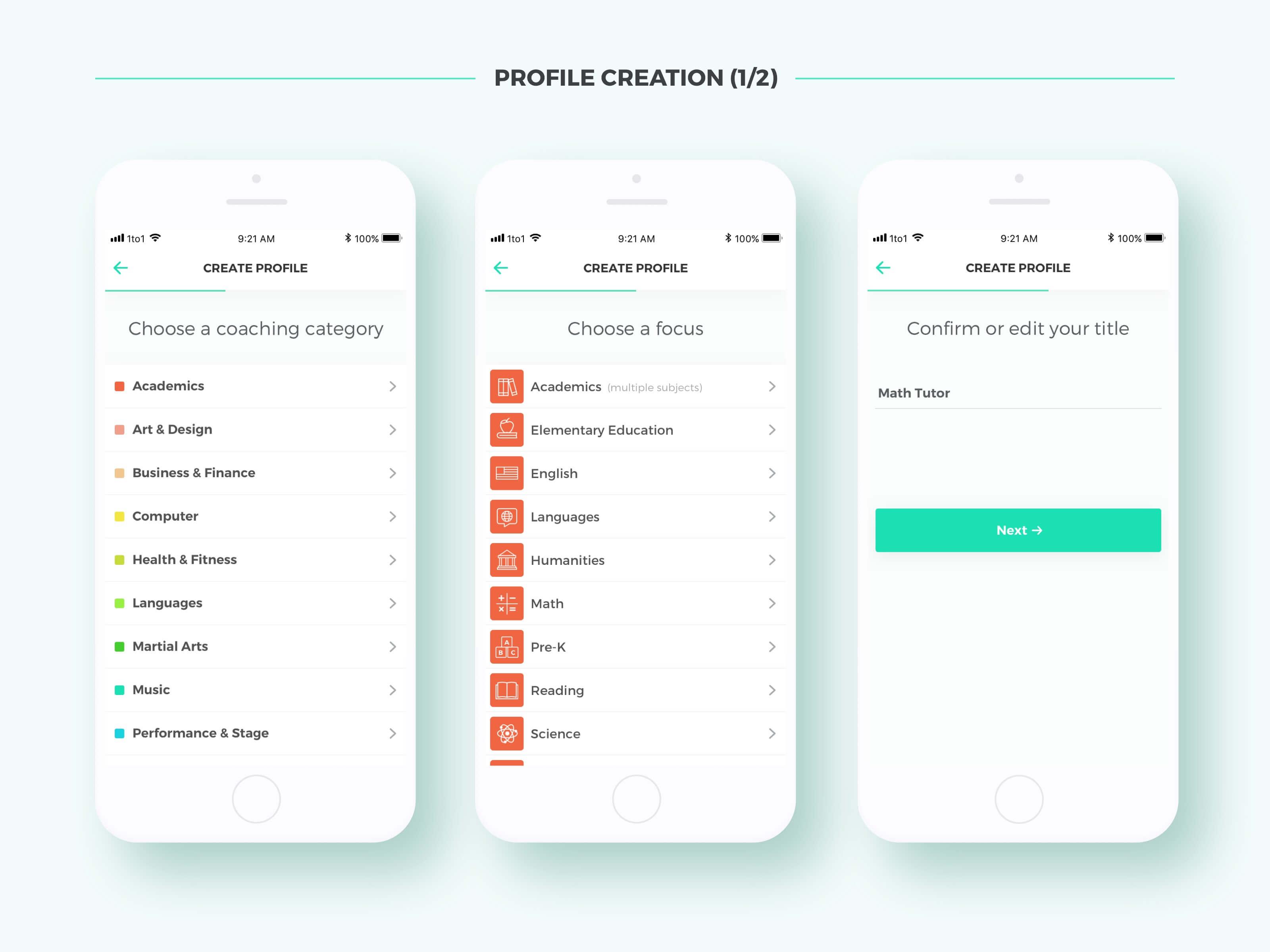 Coach+ Create Profile 1