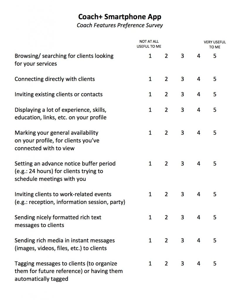 Coach+ Feature Preferences Survey - page 1