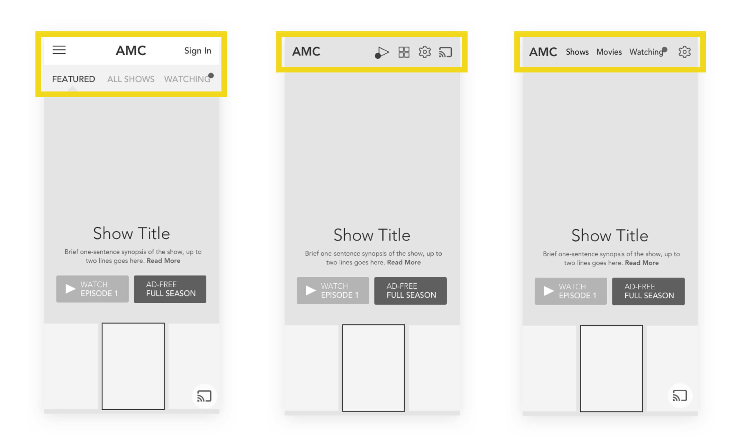 AMC Mobile - A/B Wireframes